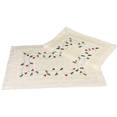 Classic Holly Embroidered Cutwork Holiday Placemat
