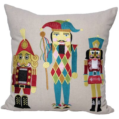 Classic Christmas Nutcracker Embroidered Holiday Linen Throw Pillow Fill Type: Polyester Fill