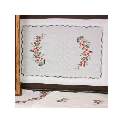 Holly Berry Embroidered Hemstitch Holiday Placemat