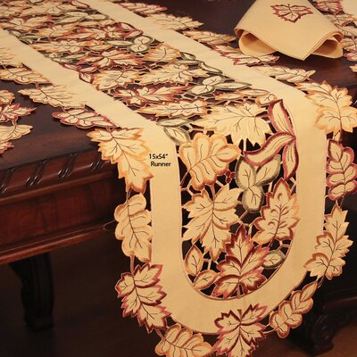 Bountiful Leaf Embroidered Cutwork Table Runner Size: 70