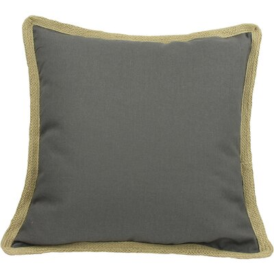 Classic Jute Trimmed Solid Throw Pillow Color: Charcoal