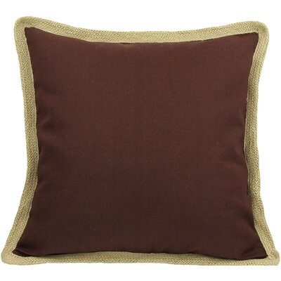 Classic Jute Trimmed Solid Throw Pillow Color: Chocolate