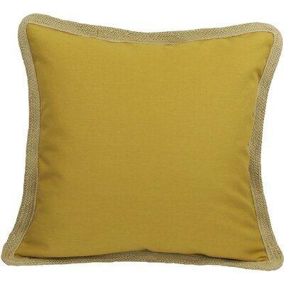 Classic Jute Trimmed Solid Throw Pillow Color: Gold