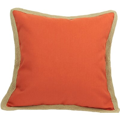 Classic Jute Trimmed Solid Throw Pillow Color: Pumpkin