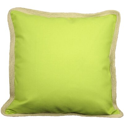 Classic Jute Trimmed Solid Throw Pillow Color: Green Apple