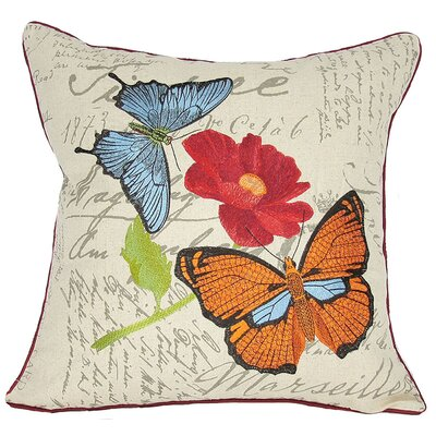 Papillion on Poppy Throw Pillow Fill: Feather
