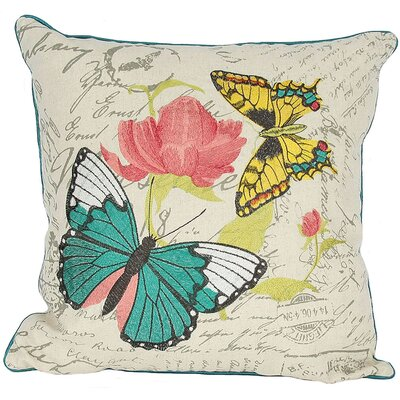 Papillion on Rose Throw Pillow Fill: Polyester