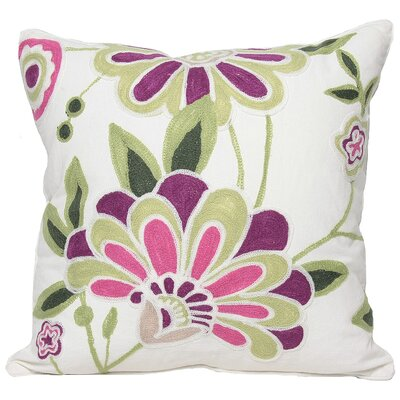 Flora Cotton Throw Pillow Color: Violet, Fill: Feather