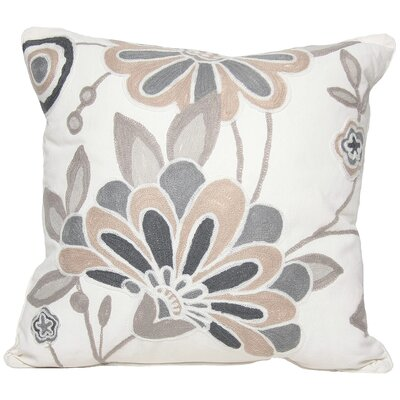 Flora Cotton Throw Pillow Color: Oyster, Fill: Feather