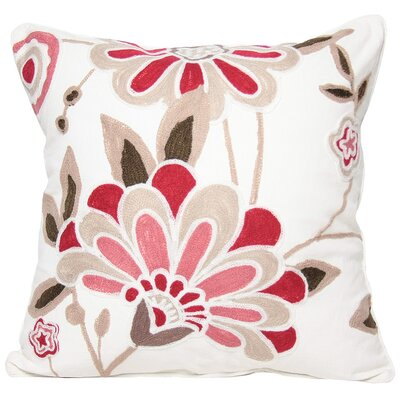 Flora Cotton Throw Pillow Color: Rose, Fill: Feather
