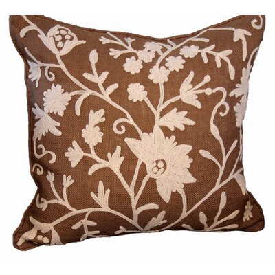 Vine Linen Throw Pillow Color: Coffee, Fill: Feather