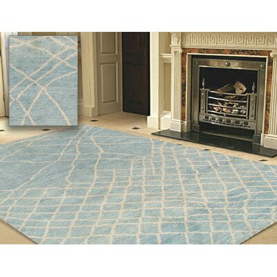 Moroccan Hand-Knotted Light Blue Area Rug