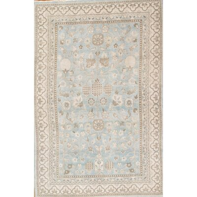 Khotan Light Grey & Blue Tribal Traditional Area Rug