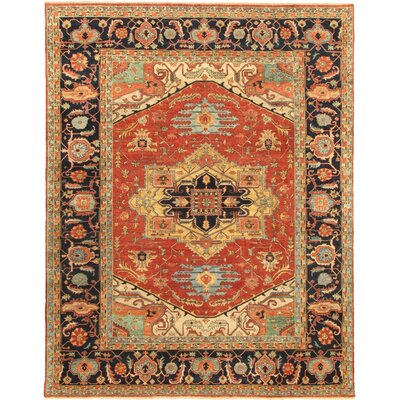 Serapi Navy/Red Heriz Rustic Area Rug 39174