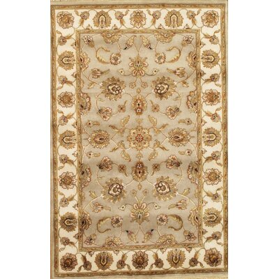 Agra Hand-Knotted Gold Area Rug Size: 41 x 63