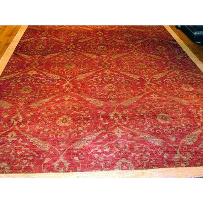 Modern Contemporary Transitional Hand-Knotted Silk and Wool Red Area Rug