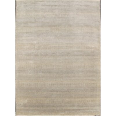 Modern Contemporary Transitional Hand-Knotted Silk and Wool Ivory Area Rug