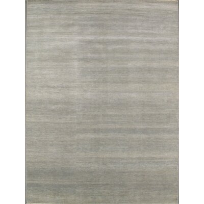 Modern Contemporary Transitional Hand-Knotted Silk and Wool Gray Area Rug