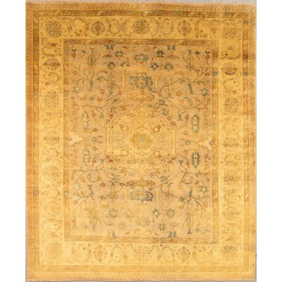 Oushak Hand-Knotted Dark Beige/Gold Area Rug Rug Size: Rectangle 8 x 10