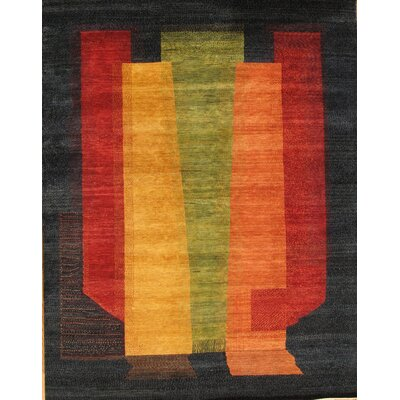 Gabbeh Tribal Art Lambs Wool Black Area Rug