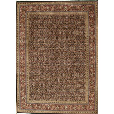 Tabriz Hand Knotted Wool Navy/Rust Area Rug Rug Size: Rectangle 9 x 12