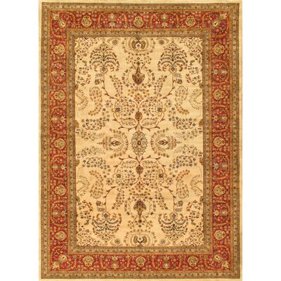 Sarouk Hand-Knotted Ivory/Rust Area Rug