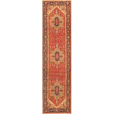 Serapi Tribal Hand-Knotted Wool Red/Navy Area Rug Rug Size: Runner 27 x 91