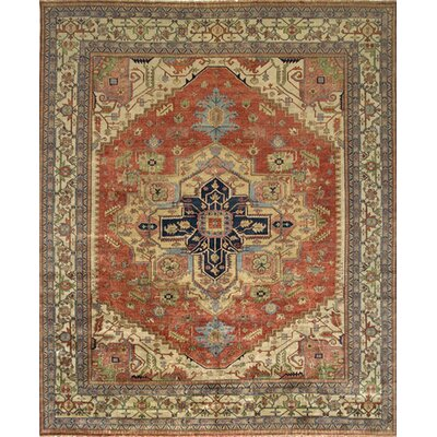 Serapi Hand-Knotted Rust/Ivory Area Rug Rug Size: Rectangle 5 x 7