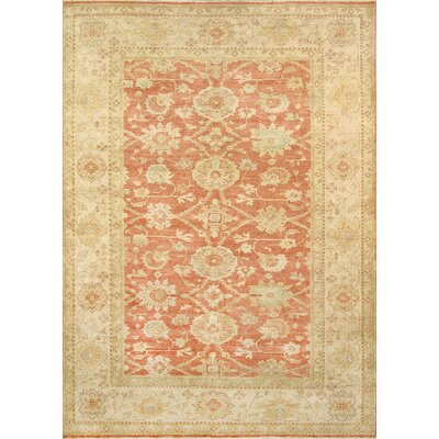 Sultanabad Lambs Wool Coral/Tan Area Rug Rug Size: 12 x 18