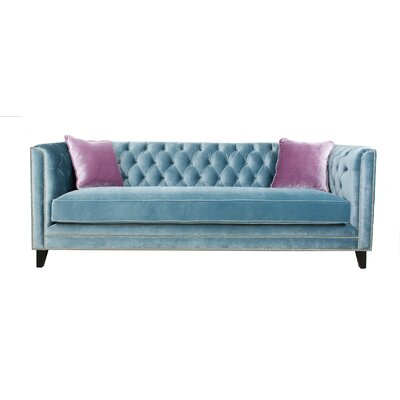 Victoria 3 Piece Chesterfield Sofa Set Upholstery: Blue gray