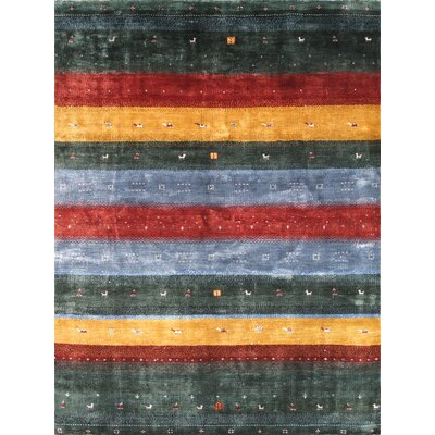 Silk Gabbeh Green Area Rug
