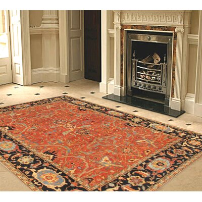 Ferehan Hand-knotted Rust/Navy Area Rug Rug Size: Rectangle 10 x 14