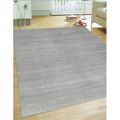 Hand-Knotted Wool and Rayon from Bamboo Silk Light Grey Area Rug Rug Size: Rectangle 9 x 12