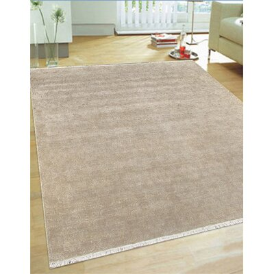 Hand-Knotted Wool and Rayon from Bamboo Silk Area Rug Rug Size: Square 9