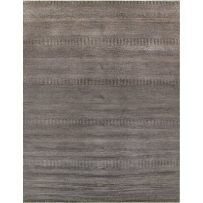 Hand-Knotted Wool and Rayon from Bamboo Silk Black Area Rug