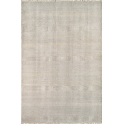 Hand-Knotted Wool and Rayon from Bamboo Silk Gray Area Rug