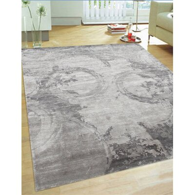 Modern Hand-Knotted Grey Area Rug Rug Size: Rectangle 10 x 14