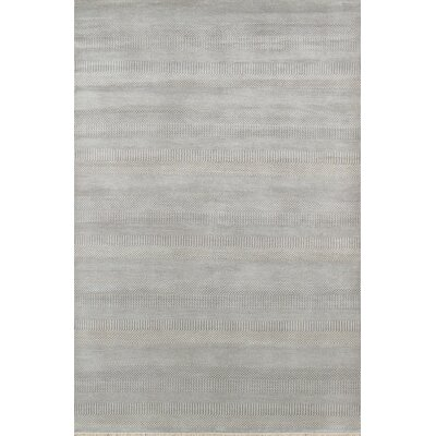 Hand-Knotted Wool and Bamboo Silk Medium Blue Area Rug
