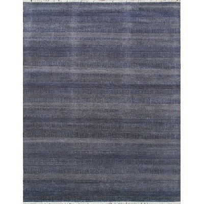 Transitional Hand Knotted Wool Navy Area Rug Rug Size: Rectangle 8 x 102