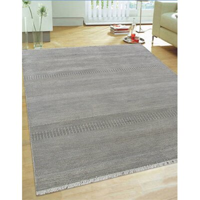 Hand-Knotted Wool and Rayon from Bamboo Silk Area Rug Rug Size: 56 x 8