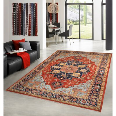 Tribal Serapi Red/Navy Area Rug Rug Size: Rectangle 10 x 14