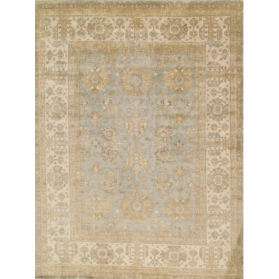 Oushak Hand-Knotted Light Blue/Ivory Area Rug