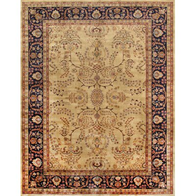 Sarouk Hand-Knotted Ivory Area Rug Rug Size: 6 x 9