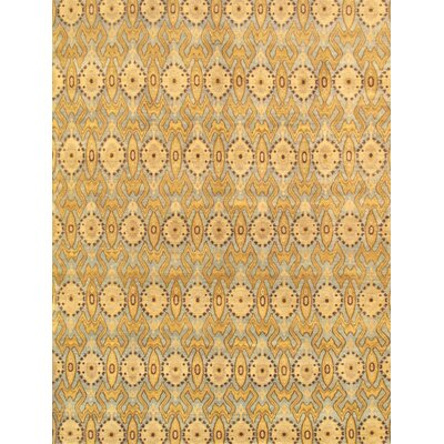 Ikat Hand-Knotted Light Blue Area Rug Rug Size: 9 x 12