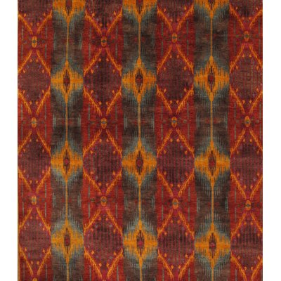 Ikat Hand-Knotted Rust/Orange Area Rug Rug Size: Rectangle 9 x 12