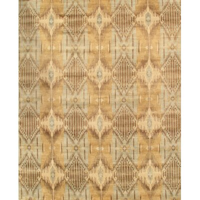 Ikat Hand-Knotted Gray/Light Blue Area Rug Rug Size: 9 x 12