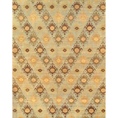 Hand-Knotted Blue Area Rug Rug Size: Rectangle 4 x 6