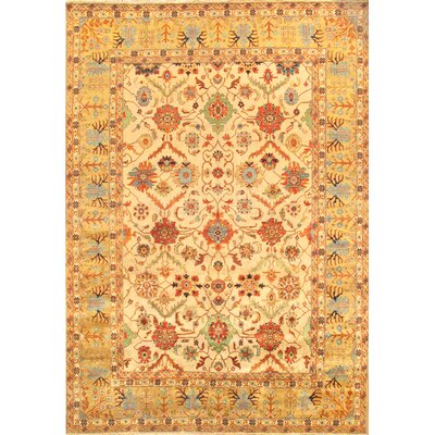 Mahal Hand-Knotted Ivory Area Rug Rug Size: Rectangle 121 x 148