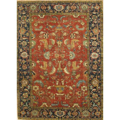 Serapi Heriz Hand-Knotted Blue/Red Area Rug Rug Size: 82 x 911