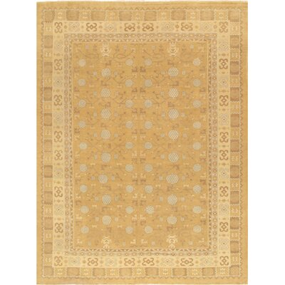 Khotan Hand-Knotted Gold Area Rug